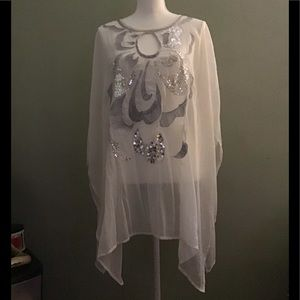 Chico's, white gauzy poncho/cape